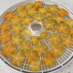 Sliced star fruit on tray.